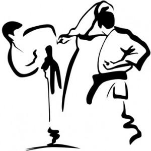 karate kämpfer mit Mawashi - Geri